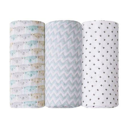 Cueiro Swaddle Soft Premium Papi Baby 1,20x1,20m Neutro 3 peças