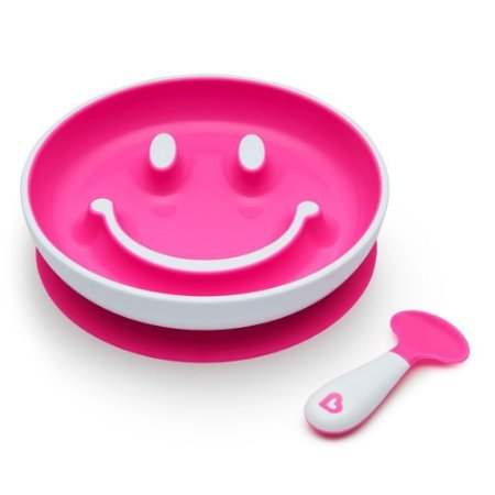 Prato Smile com Ventosa  Colher - Munchkin Rosa