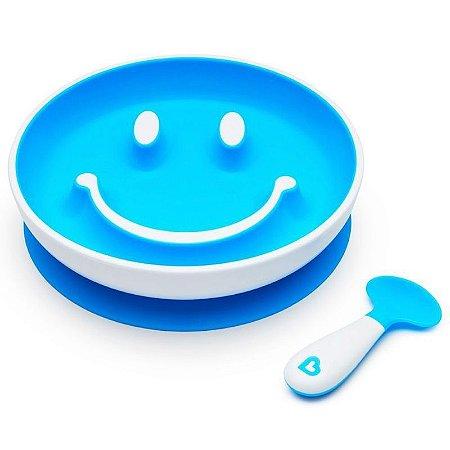 Prato Smile com Ventosa  Colher - Munchkin Azul