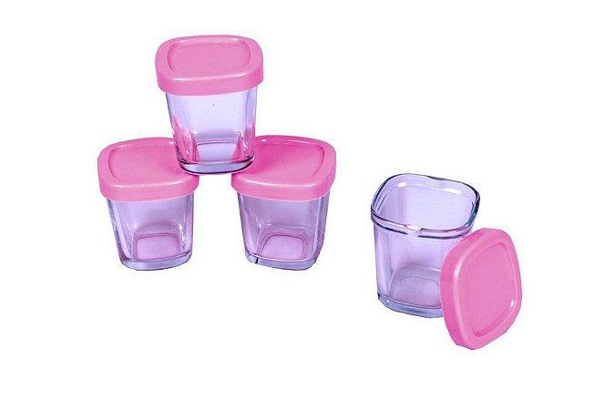 Potes de Vidro P/ Leite Materno ou Papinha 4 Peças Clingo Rosa