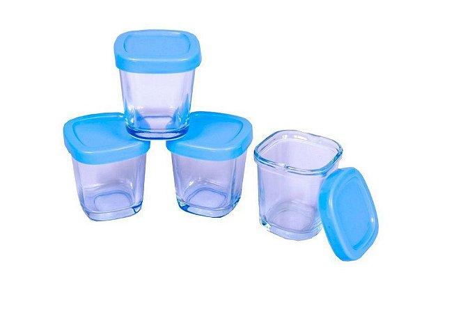 Potes de Vidro P/ Leite Materno ou Papinha 4 Peças Clingo Azul