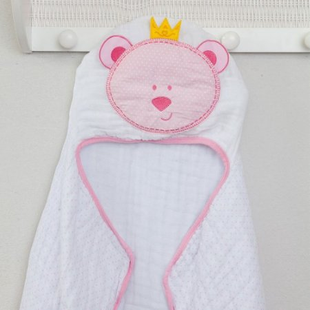Toalha de Banho Soft c/ Capuz Bordado 90x75cm Urso Rosa Papi