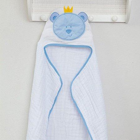 Toalha de Banho Soft c/ Capuz Bordado 90x75cm Urso Azul Papi