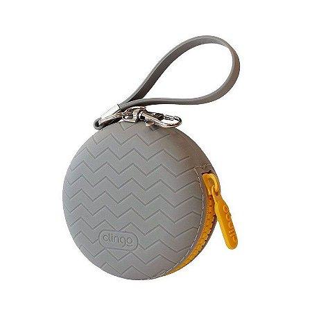 Porta Chupeta de Silicone Cinza Clingo