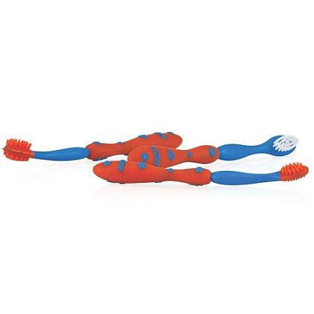 Kit de Cuidados Oral Sistema de 3 Estágios Azul e Vermelho Nuby