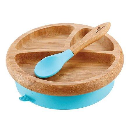 Prato de Bambu com Divisória Colher Silicone Avanchy Azul