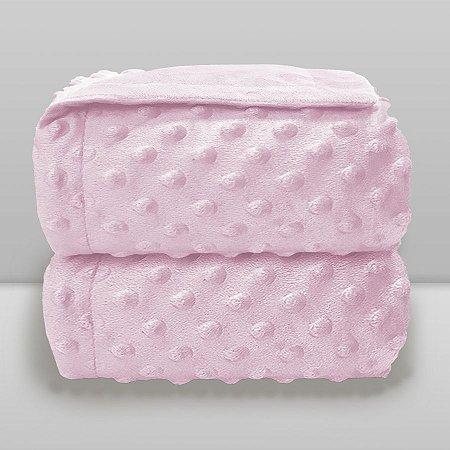 Cobertor Infantil 0,90X1,10 Dots Liso Rosa Bebê