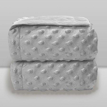 Cobertor Infantil 0,90X1,10 Dots Liso Cinza