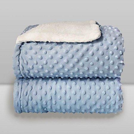 Cobertor Infantil 0,90X1,10 Sherpa Dots Azul Bebê