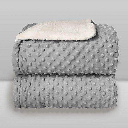 Cobertor Infantil 0,90X1,10 Sherpa Dots Cinza Glacial