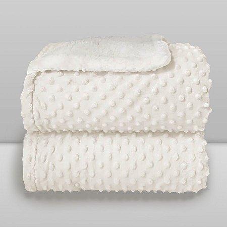 Cobertor Infantil 0,90X1,10 Sherpa Dots Branco