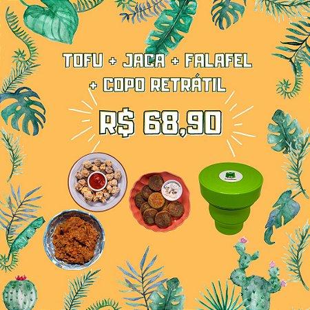 Copo Retrátil + Tofu + Falafel + Jaca Louca