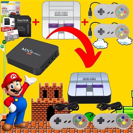 Kit Para Tv Box Placa AllWinner H3 EmuELEC Adesivo SNES + 2 Controles SNES + Cartão 32gb