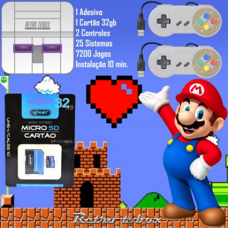 Kit Para Tv Box Placa Amlogic S905W EmuELEC Adesivo SNES + 2 Controles SNES + Cartão microSD 32gb
