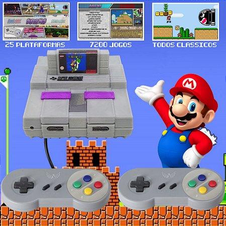 Video Game Retro Mini Super Nintendo SNES 16bits Console Case Com Cartucho