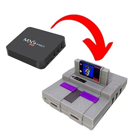 Case ABS Premium Modelo Super Nintendo + Cartucho Super Mario Para MXQ Pro MX9 e derivadas