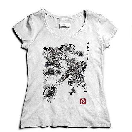 Camiseta Feminina Samus Aran Metroid- - Loja Nerd e Geek - Presentes Criativos