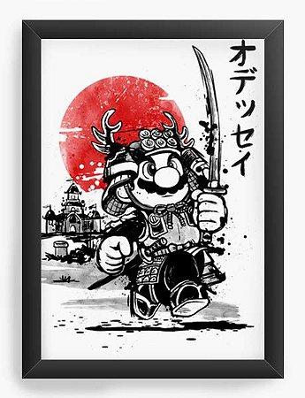 Quadro Decorativo A4 (33X24) Geekz Super Plumber Samurai - Loja Nerd e Geek - Presentes Criativos
