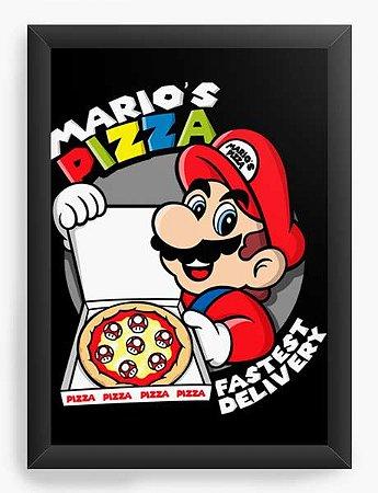 Quadro Decorativo A4 (33X24) Geekz Super Plumber Pizza - Loja Nerd e Geek - Presentes Criativos