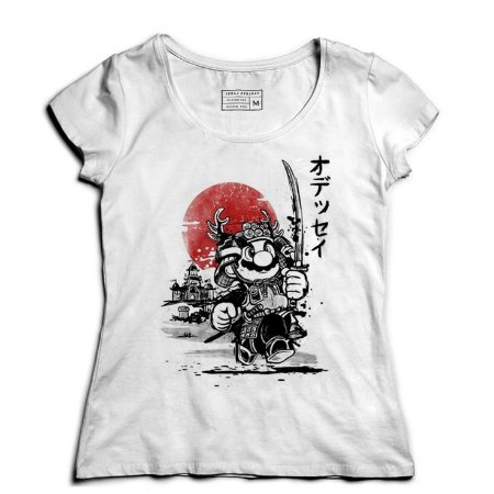 Camiseta Feminina Super Plumber Samurai - Loja Nerd e Geek - Presentes Criativos