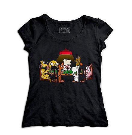 Camiseta Feminina Reunião dos Dogs - Loja Nerd e Geek - Presentes Criativos