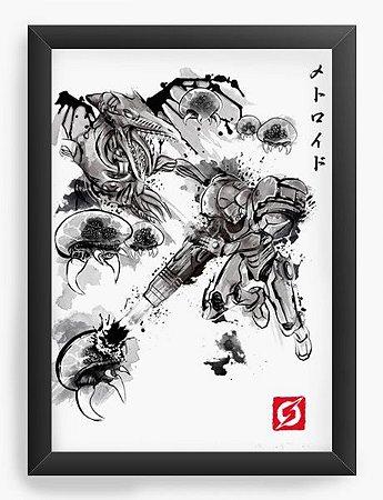 Quadro Decorativo A4 (33X24) Geekz Samus Aran Metroid- - Loja Nerd e Geek - Presentes Criativos