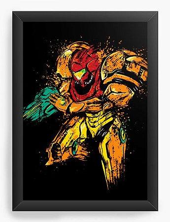 Quadro Decorativo A4 (33X24) Geekz Samus Aran - Loja Nerd e Geek - Presentes Criativos