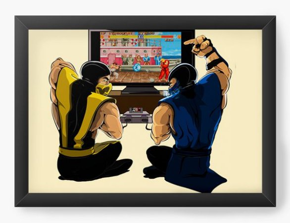 Quadro Decorativo A4 (33X24) Geekz Scorpion Street Fighter - Loja Nerd e Geek - Presentes Criativos