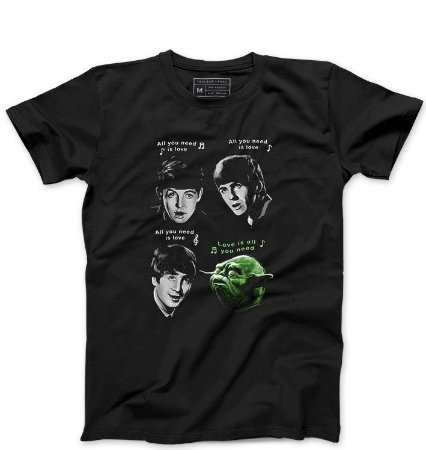 Camiseta Masculina The Beatles e Yoda - Loja Nerd e Geek - Presentes Criativos