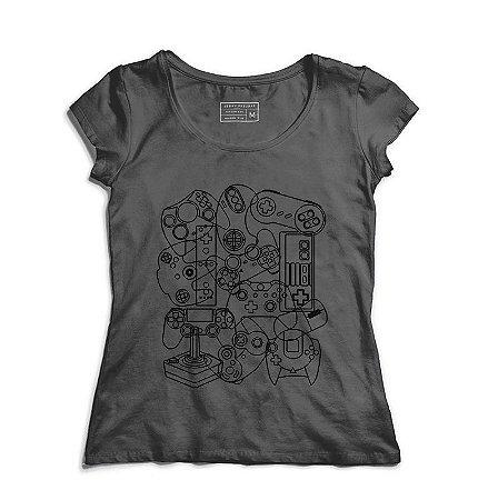 Camiseta Feminina Controles - Loja Nerd e Geek - Presentes Criativos