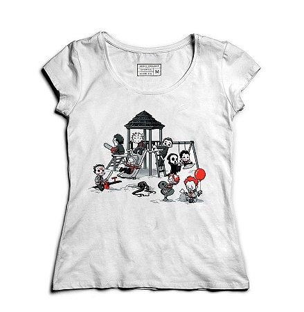 Camiseta Feminina Parque do Horror   - Loja Nerd e Geek - Presentes Criativos