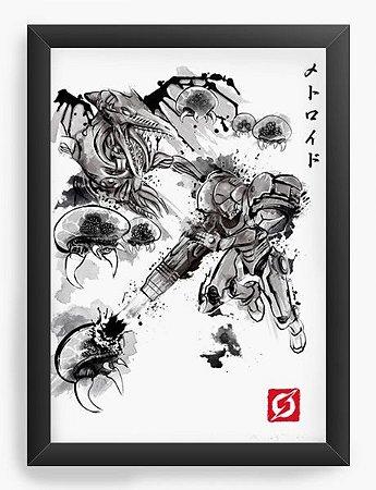 Quadro Decorativo A3 (45X33) Geekz Samus Aran Metroid- - Loja Nerd e Geek - Presentes Criativos