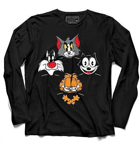 Camiseta Manga Longa Cats  - Loja Nerd e Geek - Presentes Criativos
