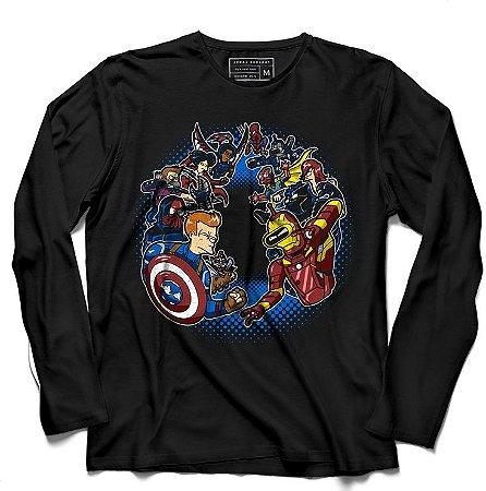Camiseta Manga Longa Homem de lata vs Homem do Escudo - Loja Nerd e Geek - Presentes Criativos