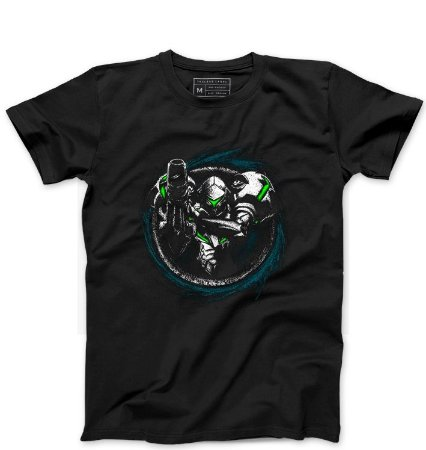 Camiseta Masculina Metroid - Loja Nerd e Geek - Presentes Criativos
