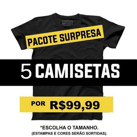 Camiseta Masculina Pacote Kit Surpresa 5 - Loja Nerd e Geek - Presentes Criativos