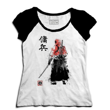 Camiseta Feminina Raglan Ninja Mascara - Loja Nerd e Geek