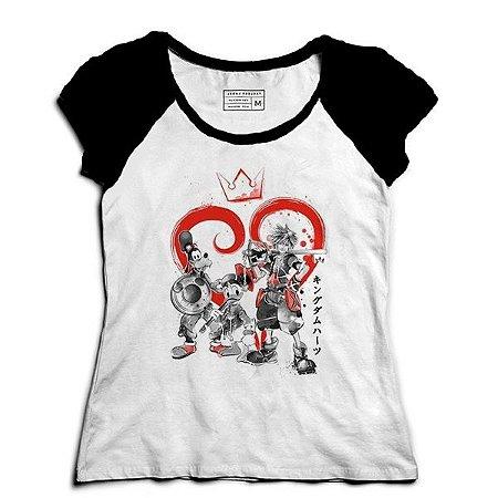 Camiseta Feminina Raglan Kingdom Hearts - Loja Nerd e Geek