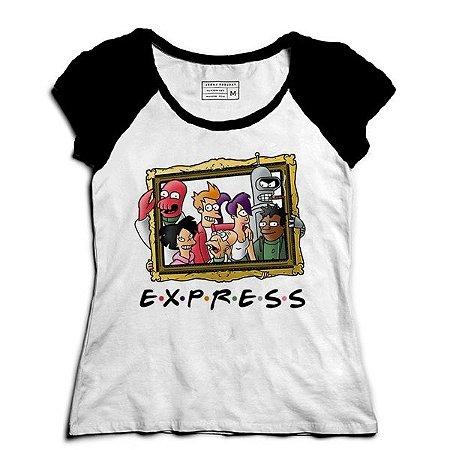Camiseta Feminina Raglan Express Friends - Loja Nerd e Geek