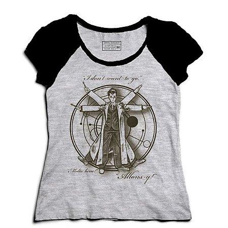 Camiseta Feminina Raglan Mescla Homem Espaço - Loja Nerd e Geek