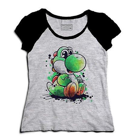 Camiseta Feminina Raglan Yoshi - Loja Nerd e Geek