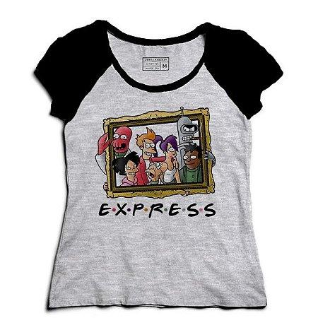 Camiseta Feminina Raglan Mescla Express Friends - Loja Nerd e Geek
