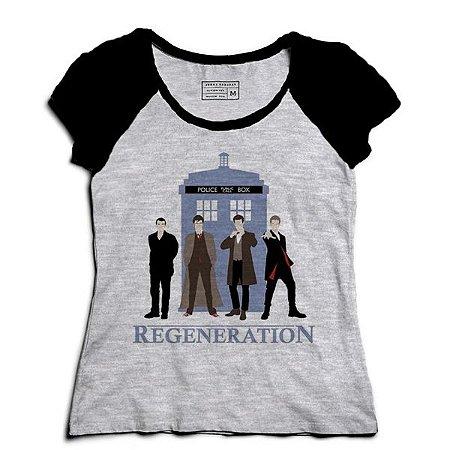 Camiseta Feminina Raglan Mescla Doctor Who - Loja Nerd e Geek