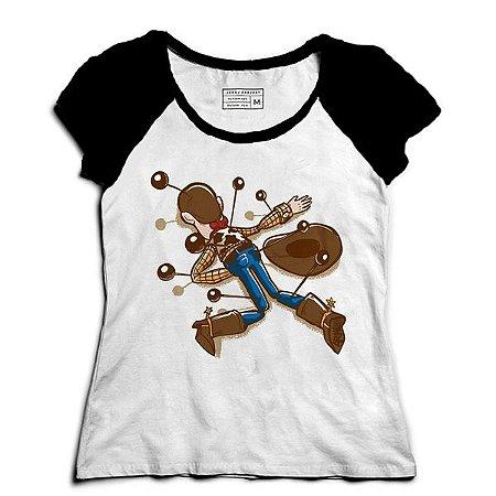 Camiseta Feminina Raglan Cowboy de Brinquedo - Loja Nerd e Geek