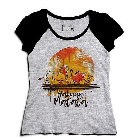 Camiseta Feminina Raglan Mescla Rei Leão - Hakuna Matata - Loja Nerd e Geek