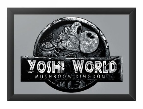 Quadro Decorativo A4 (33X24) Yoshi World - Loja Nerd e Geek - Presentes Criativos