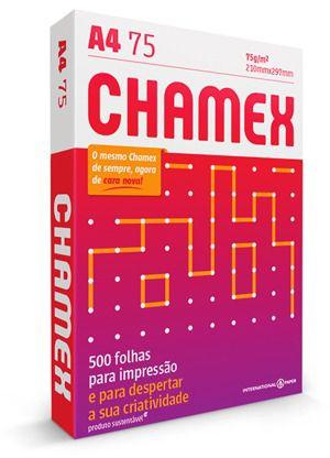 Papel A4 Sulfite Chamex 210mm x 297mm 75g Pacote com 500 folhas