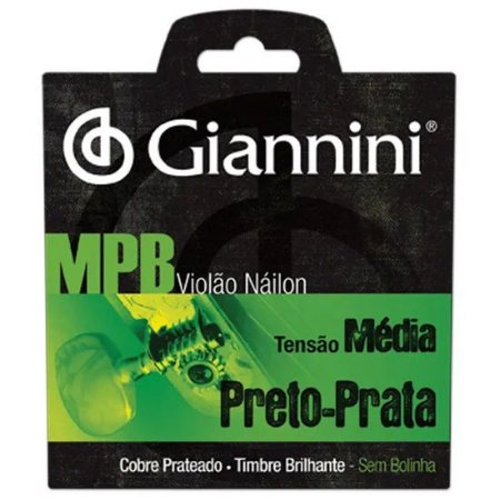 Encordoamento MPB Nylon Cristal-prata tensão média Giannini