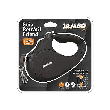 GUIA RETRATIL JAMBO FRIEND PEQUENA PRETA 5MF15KG