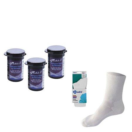 3 Frascos de Tiras Reagentes Match II Ok Meter c/ 50 unidades + 1 Par de Meia para Diabéticos Tam M